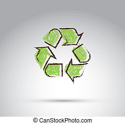 Recycled arrow over white  background vector illustration