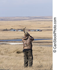 Boy out hunting in North Dakota