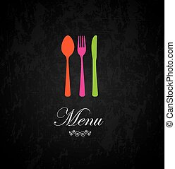 Cutlery and menu label over black background vector...