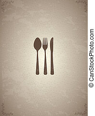 Cutlery old over vintage background vector illustration