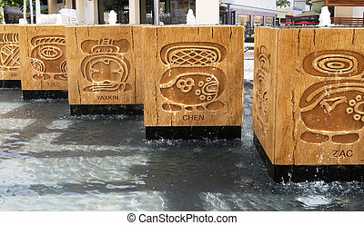Mayan water fountains - Five Mayan water fountains with...