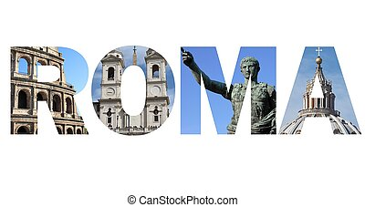 Rome text written with pictures of landmarks