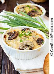 Mushroom julienne in a baking dish, casserole