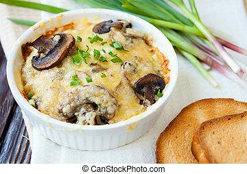 cogumelos, queijo, ASSADO, rangido, Forno