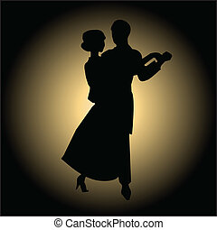 Slow ballroom dance - Dancers silhouettes vector...