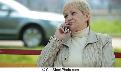 Active Senior Lady On The Phone