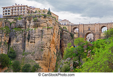 Ronda, Spain - The bridge and the old city of Ronda,Malaga,...