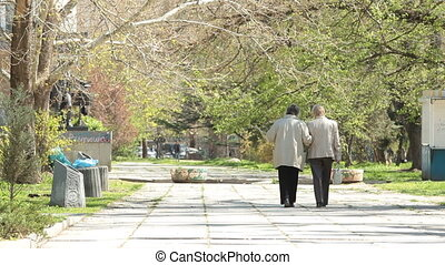 Senior women walking - Two senior women walking along the...
