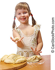 little girl kneading dough - Smiling little girl kneading...