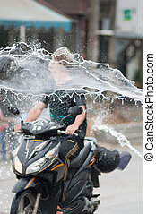 songkran festival - KO SAMUI, THAILAND - APRIL 13: Thai...