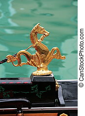 Venice symbol: golden sea horses decoration from the...