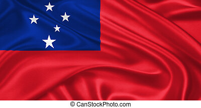 flag of Samoa waving with highly detailed textile texture...