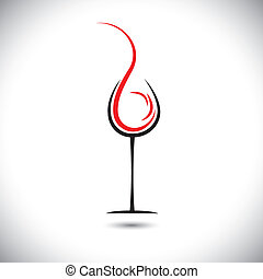 Abstract vector illustration of wine pouring(splash) into...