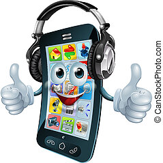 Music headphones phone - A cell phone cartoon character with...
