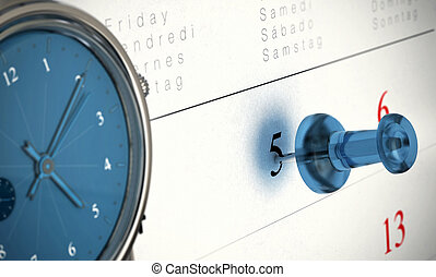 Punctuality Timed Concept - One blue thumbtack pointing on...