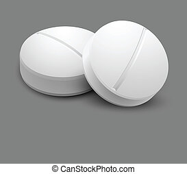 Two pills isolated on gray background