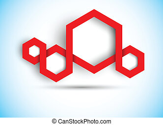 Abstract background with hexagons in red color