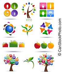 Set of icons - Colorful graphic abstract illustration over...