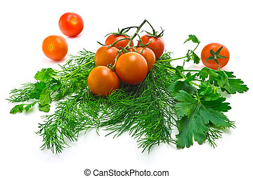 cherry tomatoes - Sprig of ripe, juicy cherry tomatoes and...