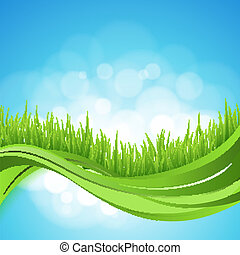 Nature background. Abstract backdrop with green grass wave. Bokeh