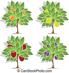 Four fruit trees