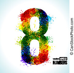 Gradient Vector Number 8 - Color Paint splashes Gradient...