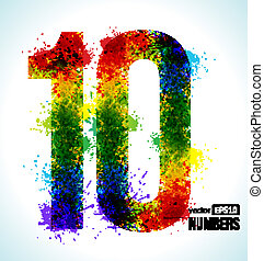 Gradient Vector Number 10 - Color Paint splashes. Gradient...