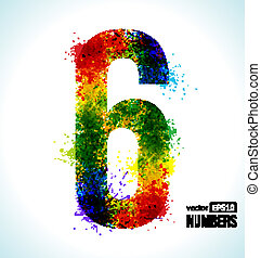 Gradient Vector Number 6 - Color Paint splashes. Gradient...