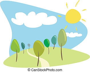 Grove with trees sunny day vector