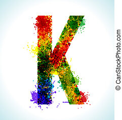 Gradient vector splashes font - Color paint splashes....