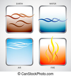 The four elements: earth, water, air and fire - Illustration...