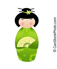 Kokeshi doll on white background