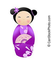 Kokeshi doll on white background