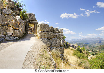Mycenae, puerta, grecia