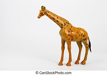 plastic toy animals giraffe and elephant with white...