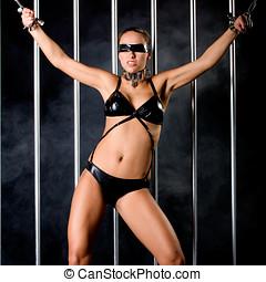 woman in lingerie in bondage - beautiful woman in lingerie...