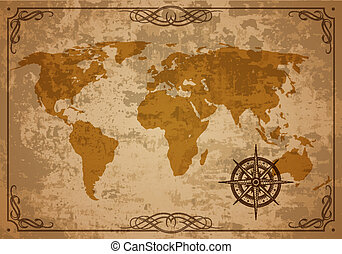 antigas, mapa, vetorial, papel, textura