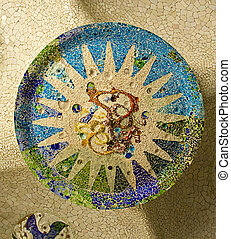 Ceramic mosaic in Park Guell Barcelona - Ceramic mosaic...