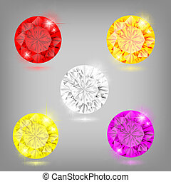 Set of diamonds - Vector illustration - set of colored...