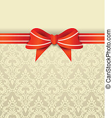 Invitation card with bow