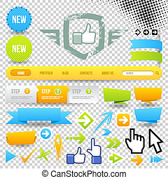 Web Template Icon and Arrows. Design Elements. Site...