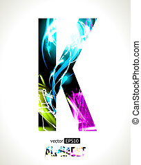 Letter K - Vector design light effect alphabet. Easy...