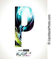 Letter P - Vector design light effect alphabet. Easy...