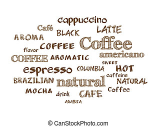 Coffee. Vector word cloud background. Hand drawn style text.