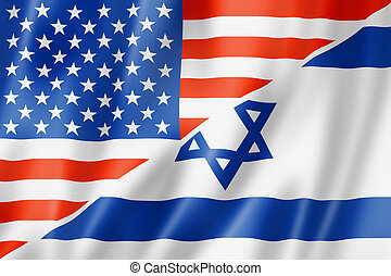 USA and Israel flag - Mixed USA and Israel flag, three...