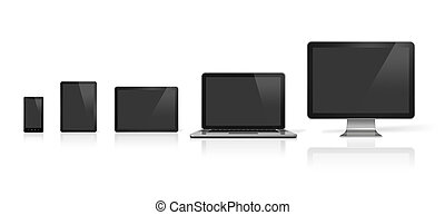 computer, laptop, mobile phone and digital tablet pc - 3D...