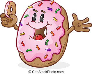 Donut Character - A super cute donut character holding a...