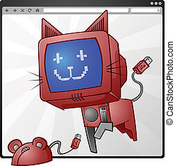 Internet Cat And Mouse Cartoons - An electronic cat cartoon...