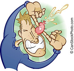 Popping Pimple Cartoon Character - A teenage adolescent boy...