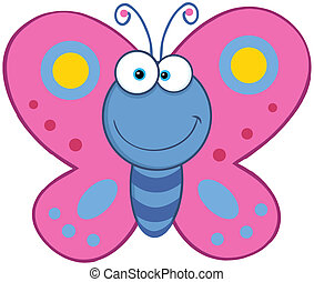 Smiling Butterfly  - Cute Butterfly Cartoon Mascot Character
